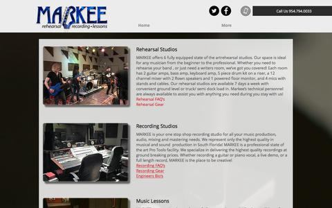 Screenshot of Services Page markeemusic.com - Markee Music | Services - captured June 9, 2017