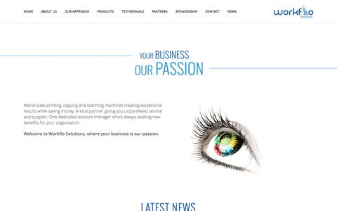 Screenshot of Home Page workflo-solutions.co.uk - Photocopy, print and scan technology   Scotland, Edinburgh, Glasgow - captured Aug. 14, 2015