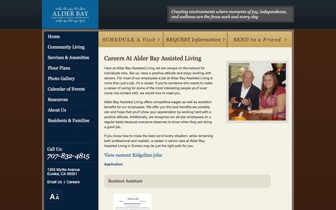 Screenshot of Jobs Page alderbayalf.com - Careers At Alder Bay Assisted Living - captured March 30, 2016