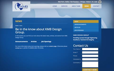 Screenshot of Press Page kmbdg.com - Read the latest news from KMB Design Group : KMB Design Group - captured Oct. 8, 2014