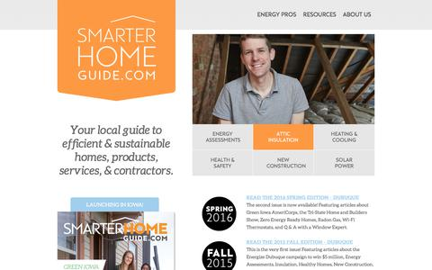 Screenshot of Home Page smarterhomeguide.com - Smarter Home Guide | Your local guide to efficient & sustainable homes, products, services, & contractors. - captured Oct. 22, 2017