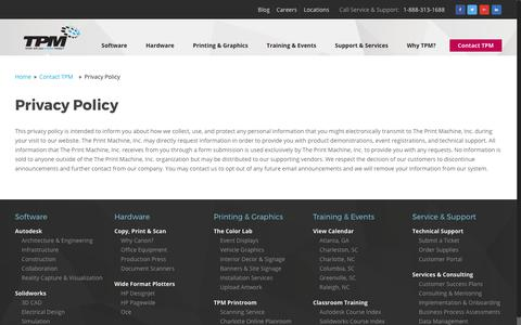 Screenshot of Privacy Page tpm.com - Privacy Policy   TPM, Inc. - captured June 16, 2017