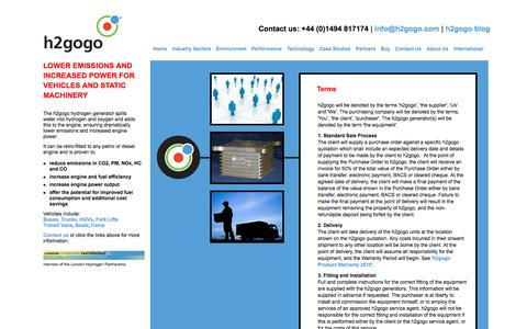 Screenshot of Terms Page h2gogo.com - h2gogo -  Hydrogen fuel generator - captured Oct. 6, 2014