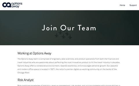 Screenshot of Jobs Page optionsaway.com - Careers — Options Away - captured June 25, 2017