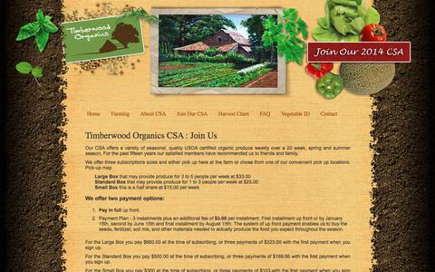 Screenshot of Signup Page timberwoodorganics.com - Timberwood Organics - Organic Farm CSA in Efland North Carolina - NC - captured July 2, 2018
