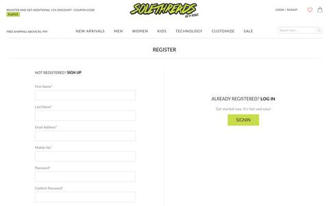 Screenshot of Signup Page solethreads.com - Create New Customer Account - captured June 15, 2017