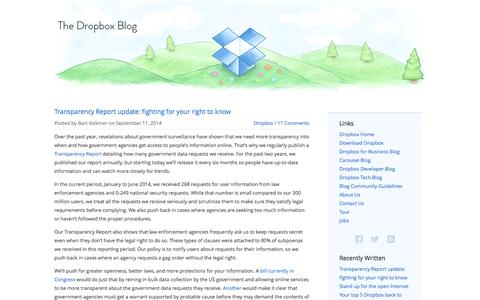 Screenshot of Blog dropbox.com - The Dropbox Blog - captured Sept. 16, 2014