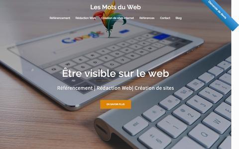 Screenshot of Home Page xn--cration-site-internet-seo-cic.fr - Référencement, rédaction web & création de sites - Les Mots du Web - captured July 16, 2015