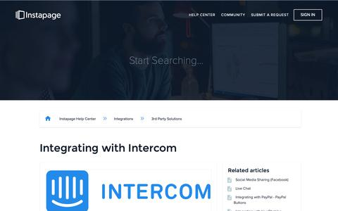 Screenshot of Support Page instapage.com - Integrating with Intercom – Instapage Help Center - captured Nov. 9, 2018