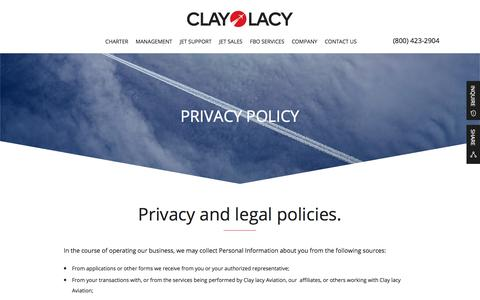 Screenshot of Privacy Page claylacy.com - Privacy And Legal | Clay Lacy Aviation - captured Aug. 4, 2017