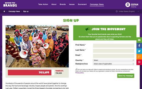 Screenshot of Signup Page behindthebrands.org - Sign up   Campaign News   Behind the Brands - captured Nov. 2, 2014
