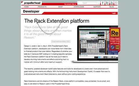 Screenshot of Developers Page propellerheads.se - Becoming a Rack Extension developer – Developer – Propellerhead - captured Sept. 19, 2014