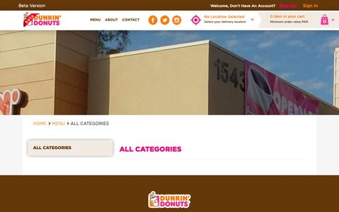 Screenshot of Menu Page dunkindonuts.pk - Dunkin Donuts | Home Page - captured Oct. 12, 2018