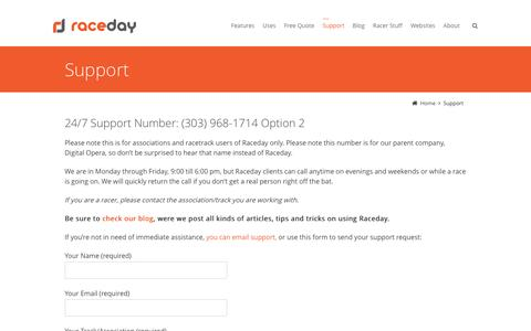 Screenshot of Support Page getraceday.com - Support - Raceday - captured Nov. 28, 2016