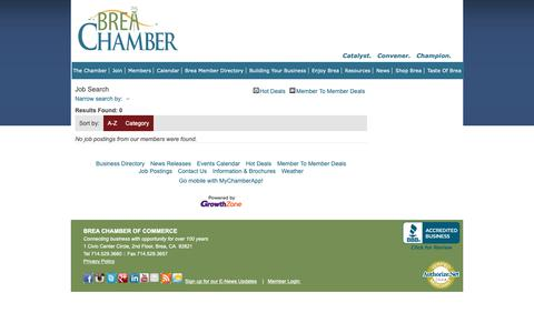 Screenshot of Jobs Page breachamber.com - Job Search - Brea Chamber of Commerce, CA - captured Oct. 6, 2018