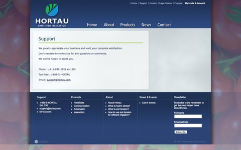 Screenshot of Support Page hortau.com - Support - Hortau - www.hortau.com - captured Sept. 16, 2014