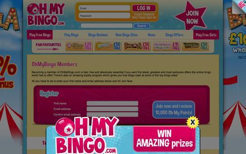 Screenshot of Press Page ohmybingo.com - Member Area | Index | OhMyBingo access to exclusive free bingo de - captured Oct. 27, 2014