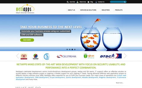 Screenshot of Home Page About Page Products Page Terms Page netiapps.com - Web Development Company, Web Development Company India,Custom Web Application Development, Drupal Development,Drupal Development Company, CRM Development, Joomla Development Company, E commerce Development ,E-Learning Development,Software Development - captured Oct. 7, 2014