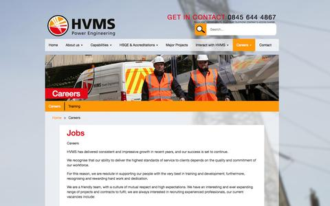 Screenshot of Jobs Page hvms.co.uk - Careers - HVMS - captured July 17, 2015