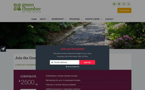 Screenshot of Signup Page greencs.org - Join the Green Chamber – Green Chamber of the South - captured Sept. 28, 2018