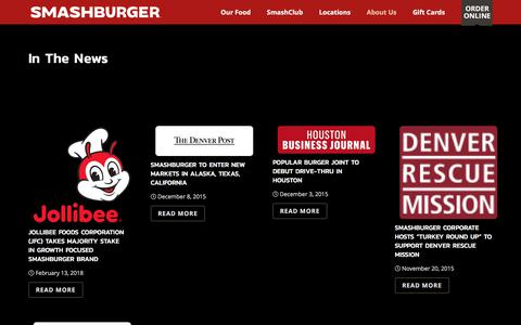 Screenshot of Press Page smashburger.com - In The News - Smashburger - captured July 21, 2018