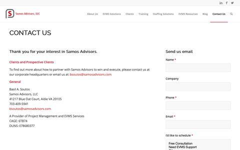 Screenshot of Contact Page samosadvisors.com - Contact Us - Samos Advisors, LLC - captured Oct. 2, 2018