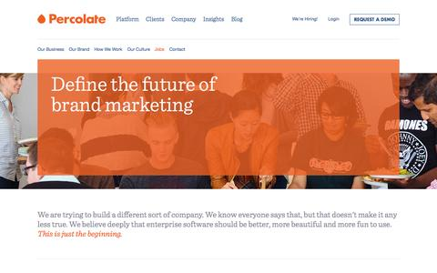 Screenshot of Jobs Page percolate.com - Jobs || About || Percolate - captured Sept. 17, 2014
