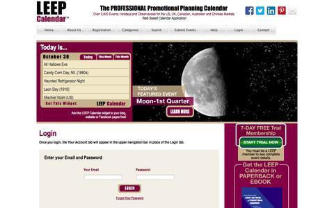 Screenshot of Login Page leepbook.com - Leep Calendar - captured Oct. 31, 2014