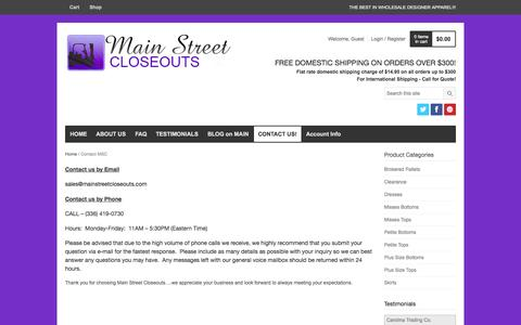 Screenshot of Contact Page mainstreetcloseouts.com - Contact MSC | MS Closeouts - captured Sept. 30, 2014