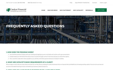 Screenshot of FAQ Page catfinco.com - FREQUENTLY ASKED QUESTIONS - Catalyst Financial Company - captured Sept. 27, 2018