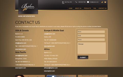 Screenshot of Contact Page bephon.com - Contact Us | BephonBephon - captured Oct. 4, 2014