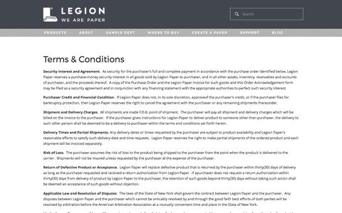 Screenshot of Terms Page legionpaper.com - Legion Paper - Terms & Conditions - captured May 17, 2017