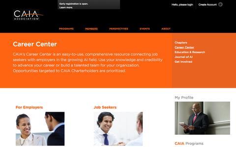Screenshot of Jobs Page caia.org - Career Center | CAIA Association - captured Oct. 16, 2016