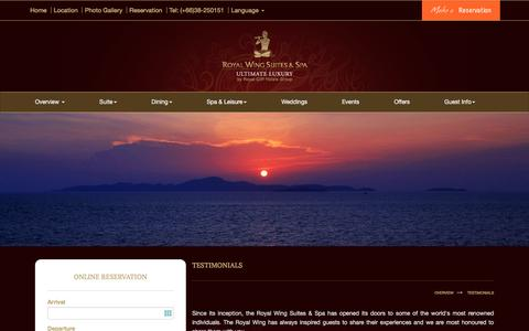 Screenshot of Testimonials Page royalwingsuites.com - Hotel Testimonials - Real Reviews Real Customers, Pattaya - captured Jan. 24, 2017