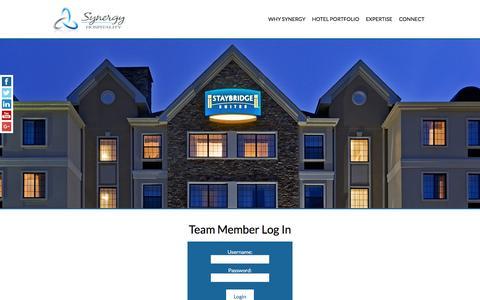 Screenshot of Login Page synergyhotels.com - Team Member Log In | Hotel Management Company Philadelphia - captured Dec. 2, 2016