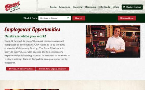 Screenshot of Jobs Page bucadibeppo.com - Employment Opportunities at Buca di Beppo Italian Restaurant - captured Aug. 4, 2018