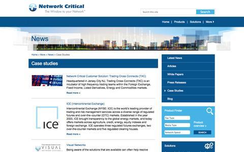 Screenshot of Case Studies Page networkcritical.com - Network Critical - Network Critical | Case Studies - captured Oct. 10, 2014