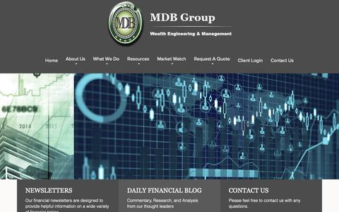Screenshot of Home Page mdbwealth.com - MDB Group - captured Oct. 1, 2018