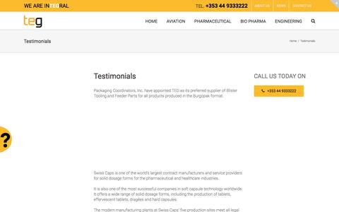 Screenshot of Testimonials Page teg.com - Testimonials - TEG - captured Feb. 25, 2016