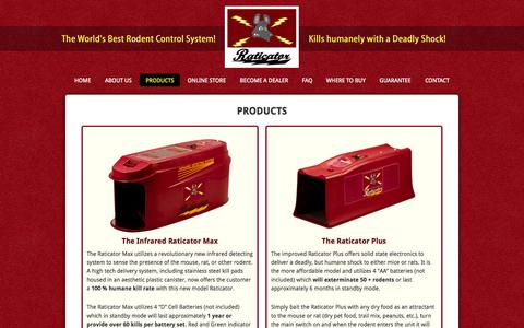 Screenshot of Products Page raticator.com - Products - Electronic Rat Trap That Humanely Kills Both Mice & Rats! - captured Oct. 4, 2014