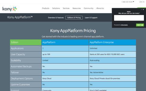 Screenshot of Pricing Page kony.com - AppPlatform Pricing   Kony - captured Sept. 3, 2018