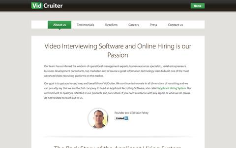 Screenshot of About Page vidcruiter.com - Video Interviewing Software and Online Hiring - VidCruiter - captured Oct. 26, 2014