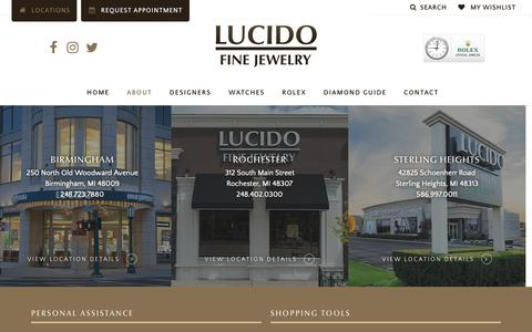 Screenshot of Locations Page lucidojewelry.com - Locations - Lucido Fine Jewelry - captured Sept. 30, 2018