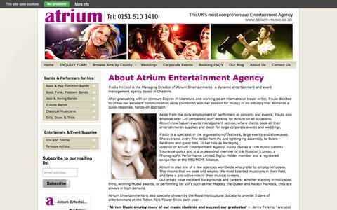 Screenshot of About Page atrium-music.co.uk - About Us |Atrium Entertainment Agency - captured Oct. 4, 2014