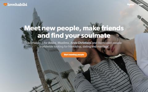 Screenshot of Home Page lovehabibi.com - LoveHabibi - Arab & Muslim Dating and Marriage - captured Jan. 26, 2015