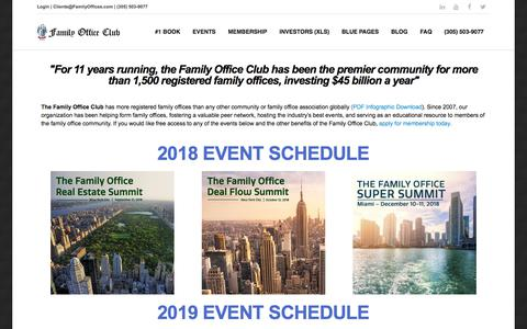 Screenshot of Home Page familyoffices.com - Family Office Conference Calendar - captured Sept. 21, 2018