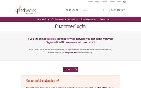 Screenshot of Login Page sdworx.co.uk - Customer login - captured Nov. 3, 2016