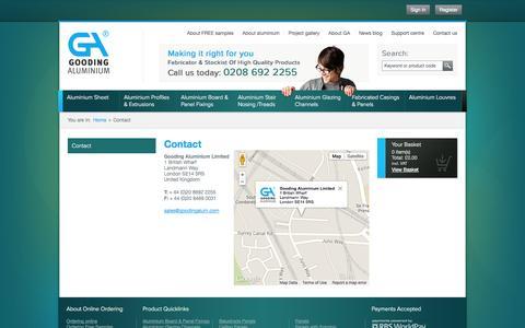 Screenshot of Contact Page goodingalum.com - Contact Gooding Aluminium   Suppliers of Aluminium Products - captured Sept. 19, 2014