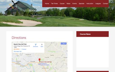 Screenshot of Maps & Directions Page ravensclawgolfclub.com - Directions - captured Nov. 12, 2017