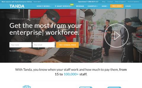 Screenshot of Home Page tanda.co - Time & Attendance Software | Workforce Management | Tanda - captured May 1, 2017